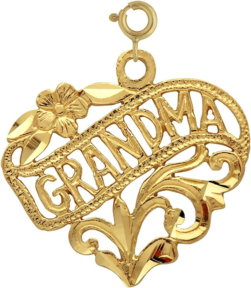 14k Yellow Gold Grandma Pendant on a 14K Yellow Gold Rope Box or Curb Chain Necklace