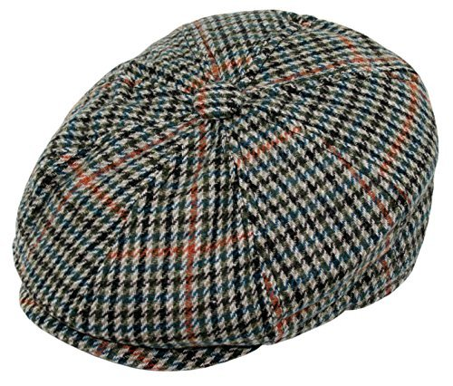 Men's Wool Blend Applejack Houndstooth Plaid Ivy Newsboy Hat (Green, One Size)