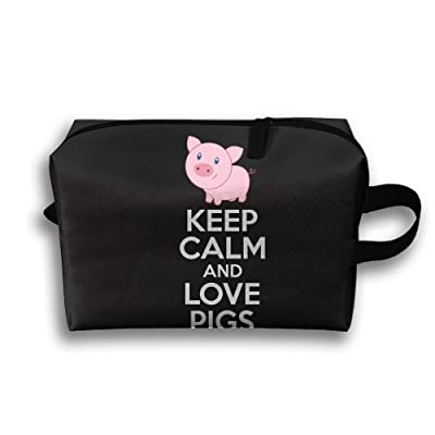 Yiot Keep Calm And Love Pigs Travel Toiletry Organizer Bag