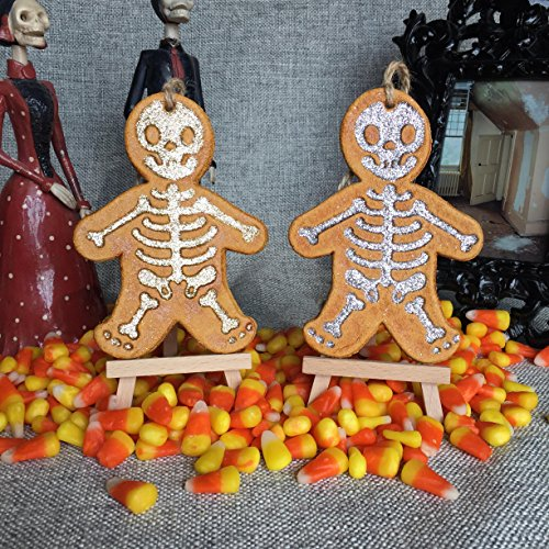 Glitter Skeleton Ornament Gold Silver glitter. Holiday, Halloween, Christmas, Day of the Dead DOD, or Gift Ornament. Made with flour, water, salt, shellac and glitter. Handmade in San Antonio Texas. for $<!--$16.00-->