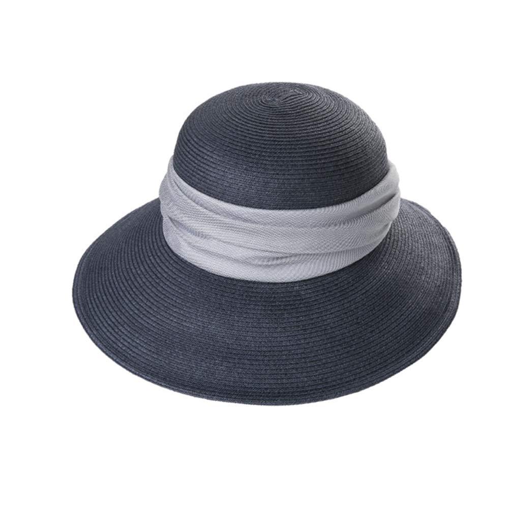 Darkbluee Hat, Female Summer Straw Hat Wild Korean Sun Visor Collapsible Sunscreen Sunscreen Beach Sun Hat