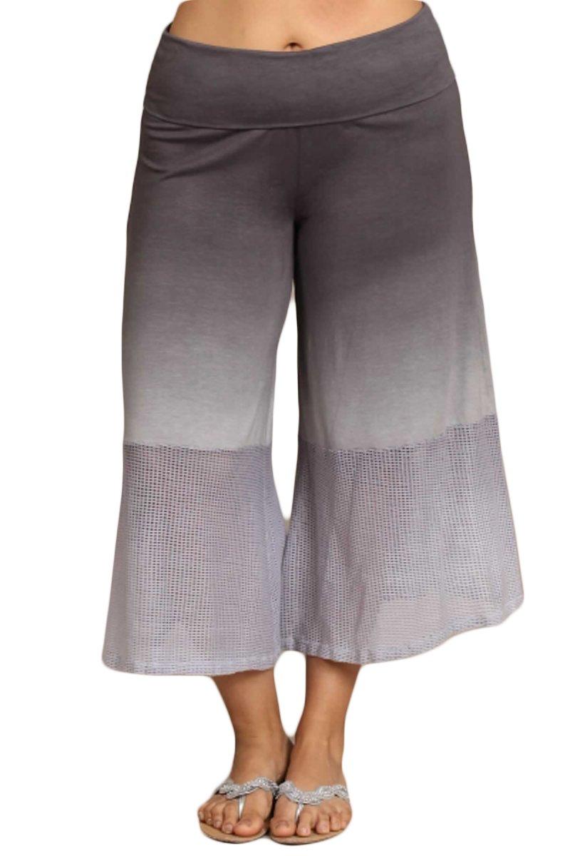 HeyHun Plus Size Women's Ombre Tie Dye Wide Leg Flared Capri Boho Gaucho Pants w/ Lace Detail - Grey