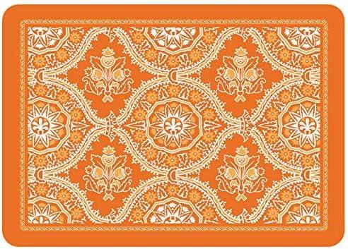 Premium Comfort Deep Floral Mat, Tangerine, 22 x 31