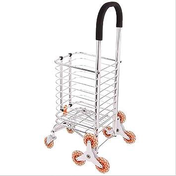 carrito de compras de acero inoxidable Tipo plegable Familia comprar carro de verduras Ayudar a los ancianos de compras Rueda de rodamiento Carga de carga ...
