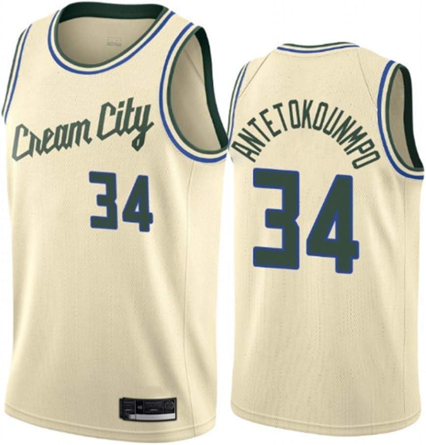 WOLFIRE SC Camiseta de Baloncesto para Hombre, NBA, Milwaukee Bucks #34 Giannis Antetokounmpo. Bordado, Transpirable y Resistente al Desgaste Camiseta para Fan