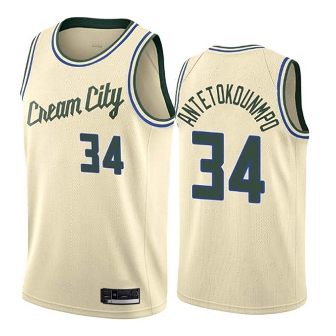 WOLFIRE SC Camiseta de Baloncesto para Hombre, NBA, Milwaukee Bucks #34 Giannis Antetokounmpo. Bordado, Transpirable y Resistente al Desgaste Camiseta para Fan (City Edition 2020, XL): Amazon.es: Deportes y aire libre