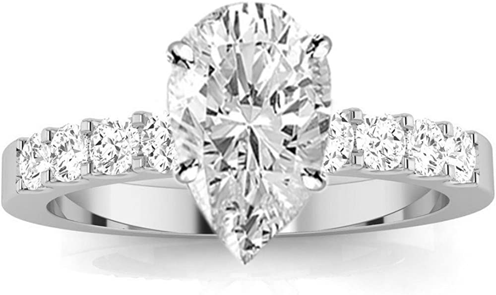 1 Carat 14K White Gold Classic Prong Set Round Pear Cut Diamond Engagement Ring 0.5 Ct E Color SI1 Clarity Center Stone