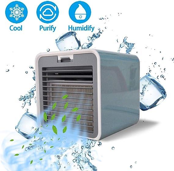 YWLINK Enfriador De Aire Evaporativo Mini USB Ventilador De Enfriamiento De Agua Aire Acondicionado PortáTil Viento De 3 Velocidades Humidificador Purificador De Aire ...