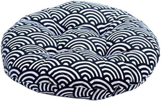 DRAGON SONIC Japanese Style Linen Yoga Bolster Tatami Floor Round Cushion(Waves,17