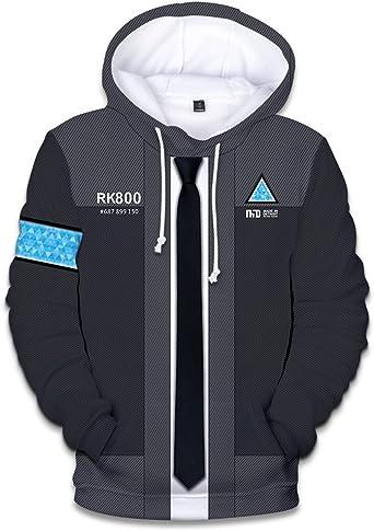 FangjunxianST Become Human Hoodie 3D Printed Swearshirt Jacket Game Cosplay Costume