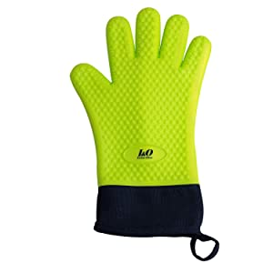 I&O BBQ Gloves Oven Mitts – Heat Resistant Grilling Gloves – Silicone Cooking Gloves – ColorfulLong Waterproof Mitts – Non-Slip Silicone Gloves – Double Layer Design – Multipurpose Oven Mitts (Green)