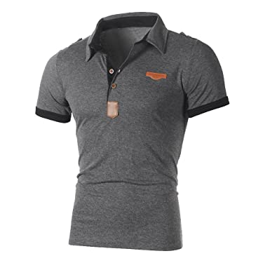 b571e214e Yying Mens Short Sleeve Polo Shirt Fashion Summer Tops Turn Down Collar Golf  Office Casual Tennis T-Shirt Blouse  Amazon.co.uk  Clothing