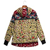 JOFOW Womens Long Coats Jackets Hooded Fleece Lined Floral Print Color Block Patchwork Loose Warm Padded Parka Plus Size Green