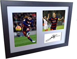 Signed Lionel Messi Barcelona Photo Photograph Picture Frame Autograph Mount Football Soccer Gift A4