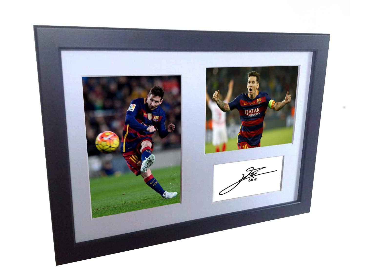 Signed Lionel Messi Barcelona Photo Photograph Picture Frame Autograph Mount Football Soccer Gift A4 Kicks