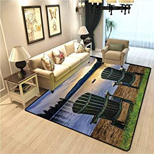 Seaside Living Room Bedroom Mat Area Rug Two Wooden Chairs on Relaxing Lakeside at Sunset Algonquin Provincial Park Canada Interior Bedroom Decorative Rug Navy Green W5xL7 Ft