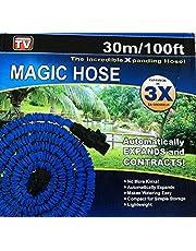 Expanding Magic Hose, 100 Feet With Sprayer Nozzle Blue
