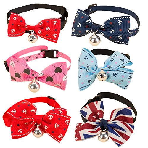 BUYITNOW Adjustable Pet Bow Tie Collar with Bell Costume Bowknot for Small Dogs Cats 6Pcs