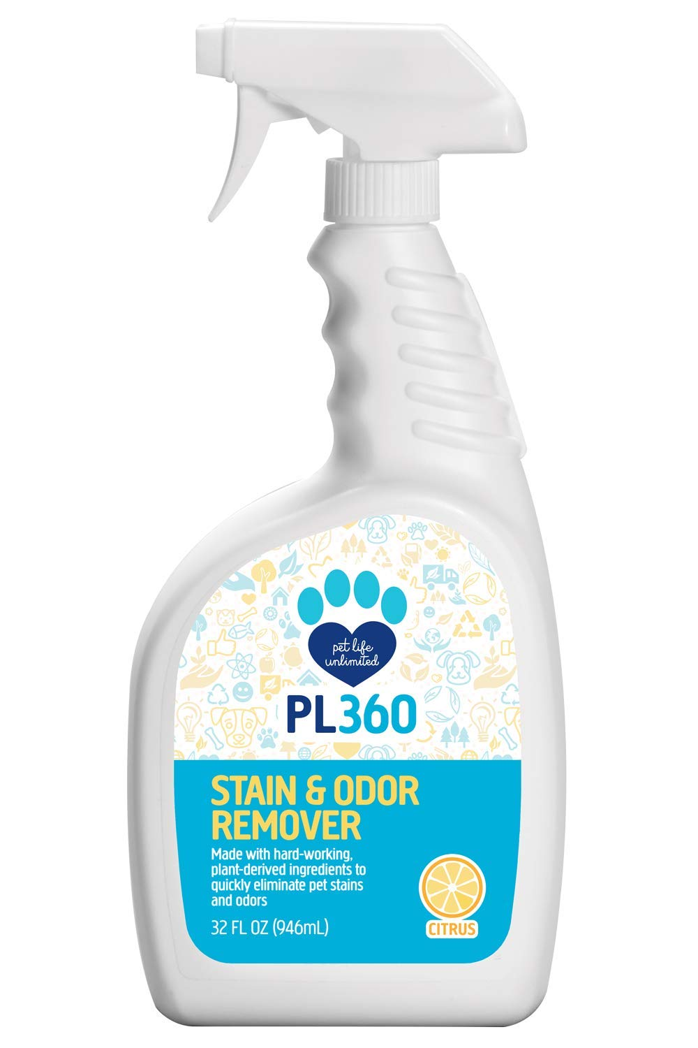 PL360 Plant-Based Pet Stain & Odor Remover, 32 Ounces (4 Pack) by PL360