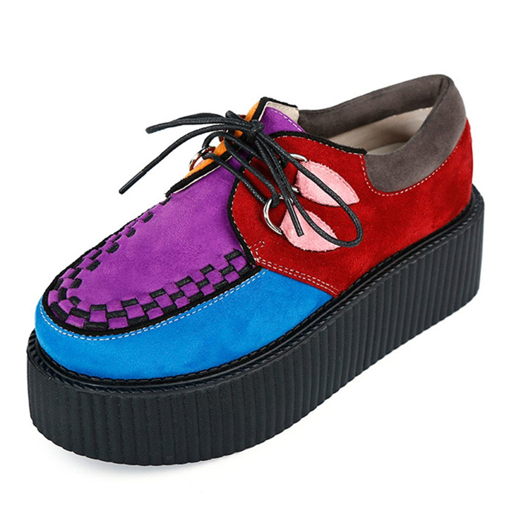 Women's Creepers Suede Platform Flats Oxford Punk Casual Shoes Multicoloured Size9.5