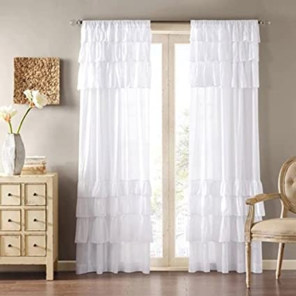 Uphome 1pc White Solid Ruffle Window Curtain Panels
