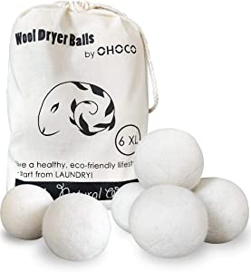 OHOCO Wool Dryer Balls 6 Pack XL, Organic Natural Wool for Laundry, Fabric Softening - Anti Static, Baby Safe, No Lint, Odorless and Reusable White