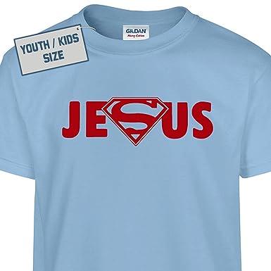 Amazon.com: Youth Superman Jesus T Shirt Cool Kids Christain ...