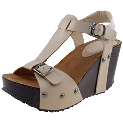 Cambridge Select Women's T-Strap Open Toe Buckled Ankle Studded Chunky Platform Wedge Sandal: Shoes