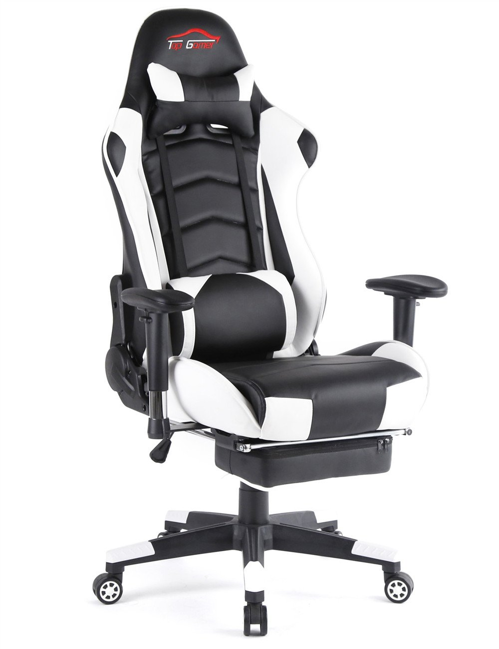 Ergonomic Gaming Chair PC Game Computer Office Chair with Footrest (White)