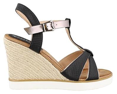 Women's Patrizia, Kochi High Heel Wedge Sandal BLACK / PEWTER 3.8 M