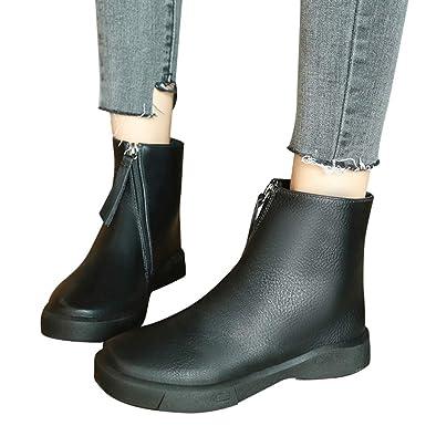 97f1cf36694174 OSYARD Flache Boots Damen Vintage Ankle Stiefeletten Low-Top Winter Leder