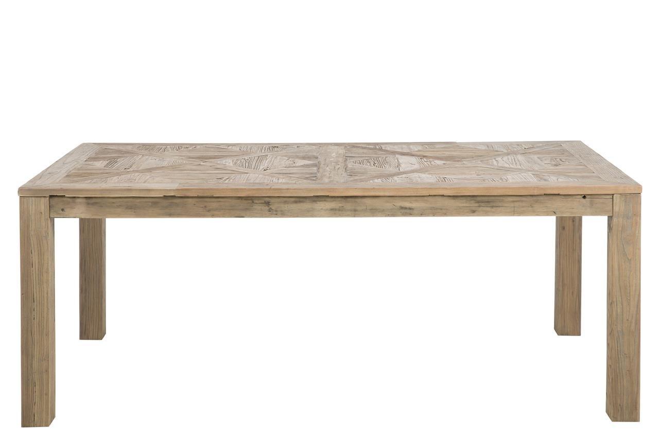 Rustikaler Esstisch 200 x 105 x 76 cm Massivholz Recycled Tisch Esszimmertisch Ulme Massiv