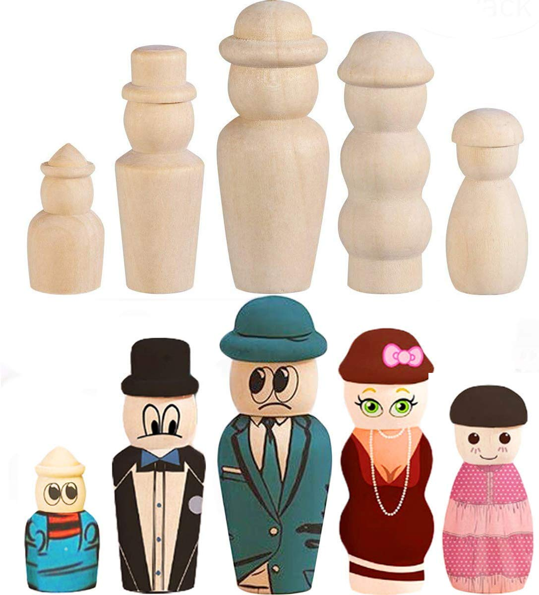 Craft Art Projects Family Peg People Doll Bodies 5 Assorted Shapes Peg Game Natural Decorative Wood Shapes Figures for Painting WOWOSS 50 Pack Unfinished Wooden Peg Dolls with Hat