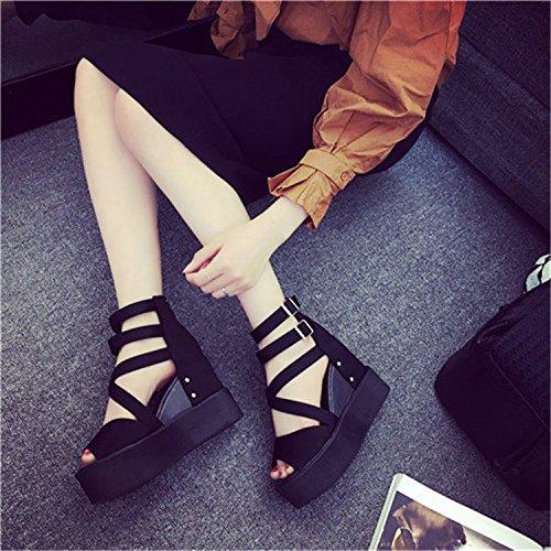 Boca De Aumento Abajo Chica Heeled Zapatos Zapatos Sandalias High Bizcocho Taiwán con El Cuesta Impermeable SHOESHAOGE De EU39 Grosor Femenino Eu39 Pescado 5vPxq