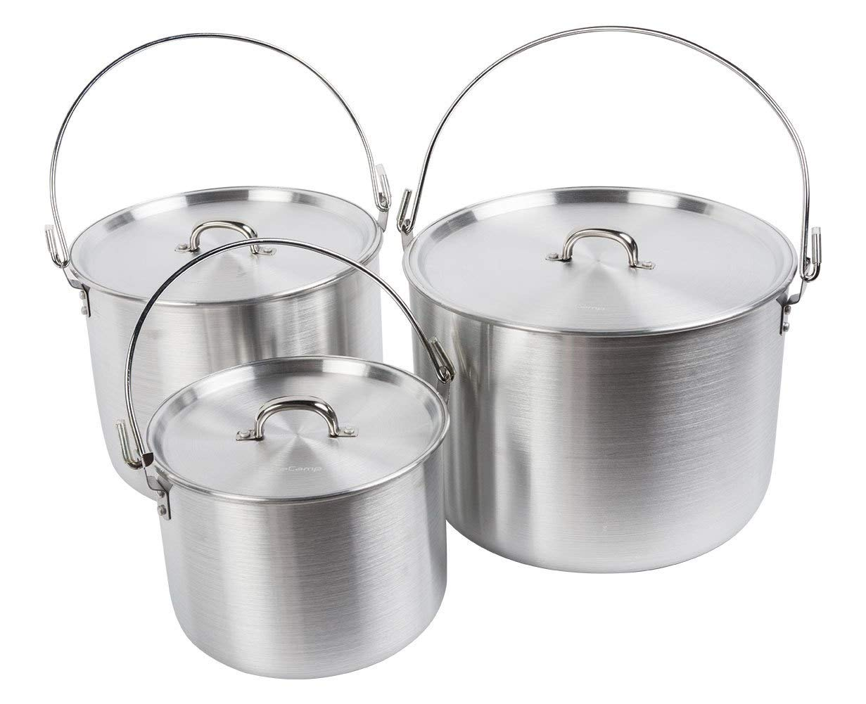 AceCamp Aluminum Cooking Pot, Camping Tribal Pot, Outdoor Picnic Cookware with Folding Handle, Durable Cook Kit for Dinner, Backpacking, Hiking - 4/8/12 L (3 Pot Set (4/8/12 L)) by AceCamp