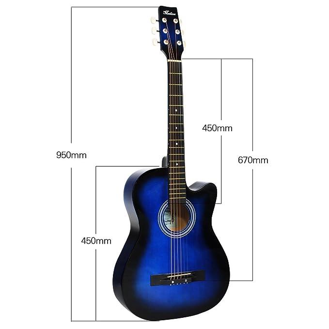 HAPILIFE Guitarra cortada acústica 6 cuerdas 38