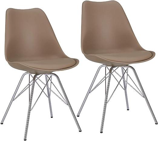 Duhome Esszimmerstuhl 2er Set Küchenstuhl Kunststoff mit Sitzkissen Stuhl Vintage Design Retro Farbauswahl 518J, Farbe:Cappuccino x4,