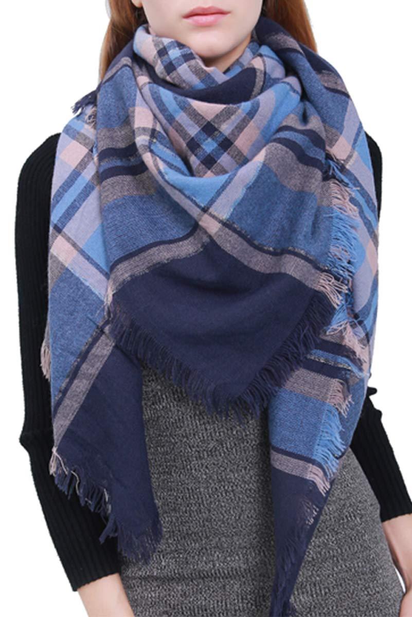 MissShorthair Fashion Unisex Winter Tartan Blanket Scarf Oversized Shawl (Blue)