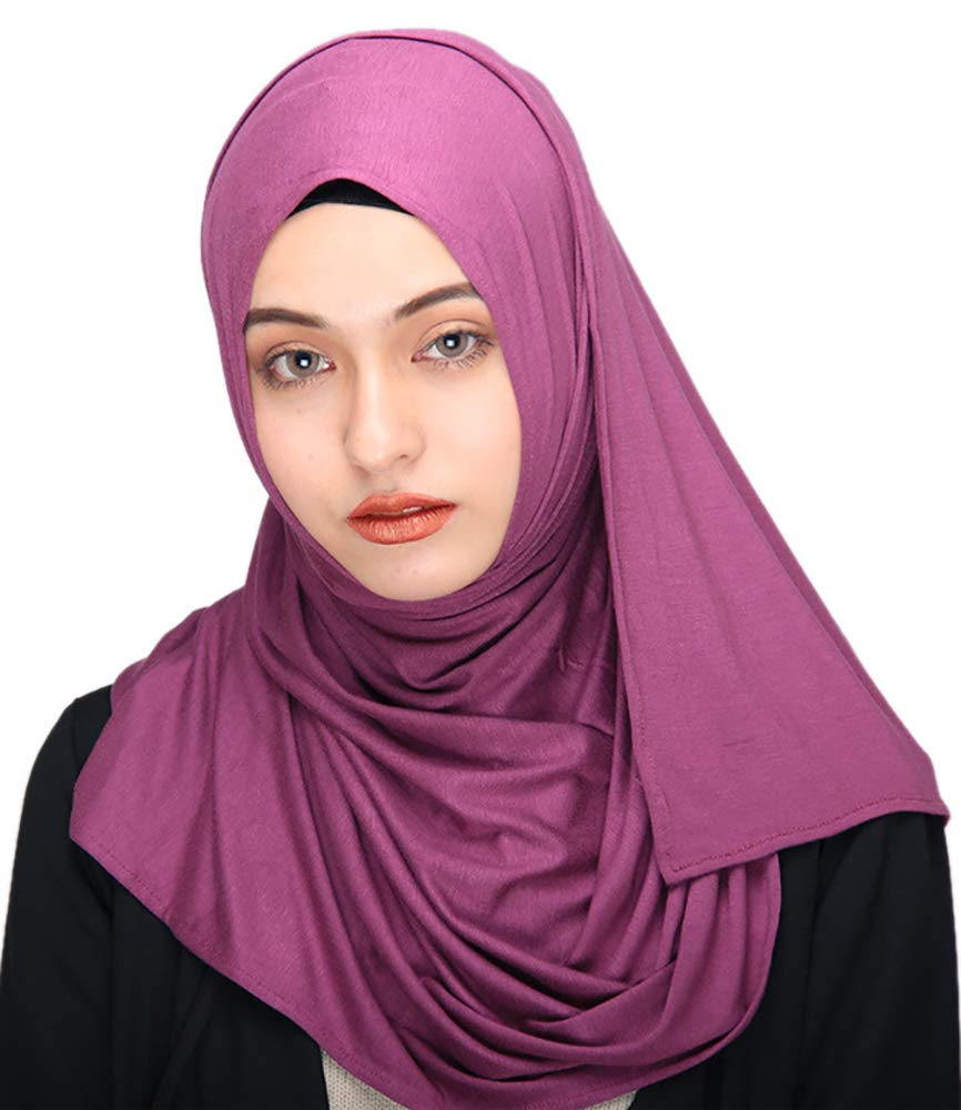 Ababalaya Women's Muslim Islamic Soft Breathable Cotton Long Hijab Head Scarf 70×30 inch,Purple Red by Ababalaya