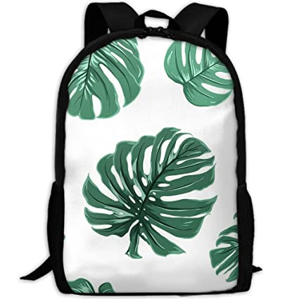 1fc4490e95 Image Unavailable. Image not available for. Color  KHDAA Unisex Casual  Tropical Exotic Monstera Leaves Print Backpack Oxford Bag School Student ...