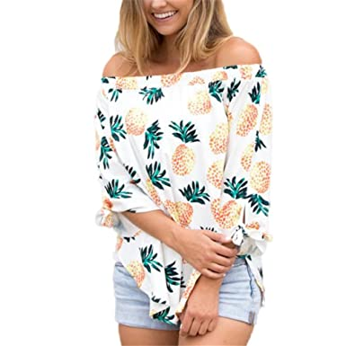 TYWAG New Womens Pineapple Printed Off Shoulder Long Sleeve Tops Tunic Tie Tee Shirt White S