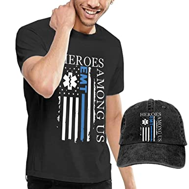PBEHRT Men s American Flag EMT Shirt+hat Fashion Short Sleeve Tshirt ... 1b0462c2e9b
