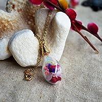 Multi Mezclado Variedad Babysbreath Rosas No me olvides Real Flor Vaso Gota de agua 18K Chapado en oro Largo Collar