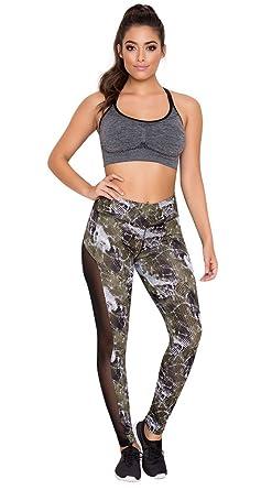 42cc88c2934fc3 Yandy Women Athletic High Waist Camo Sheer Mesh Side Panels Soft Leggings  at Amazon Women's Clothing store: