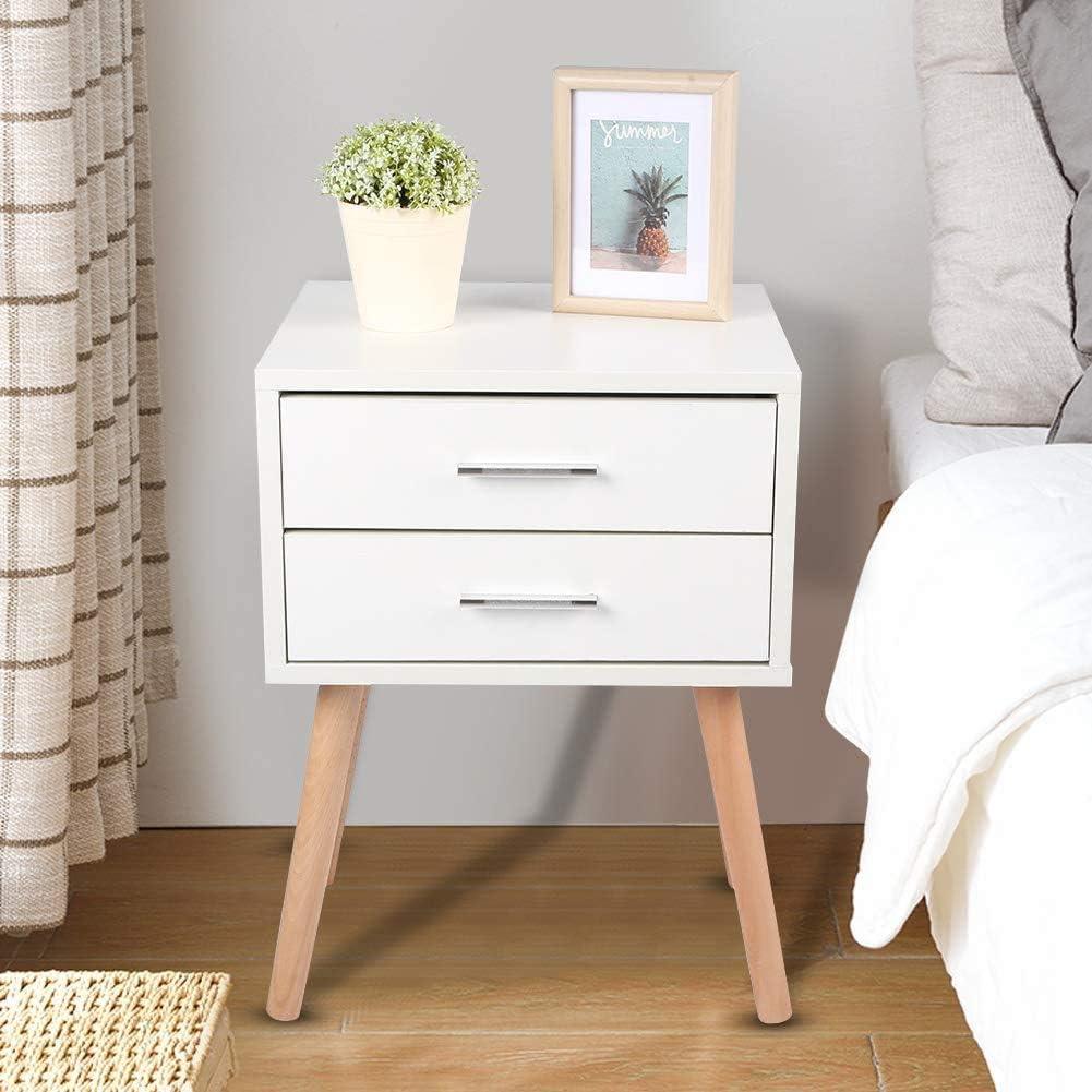 in legno comodino per camera da letto Ejoyous Comodino moderno solido con due cassetti organizer portaoggetti portaoggetti impermeabile 40 x 35 x 50 cm comodino anti-polvere superficie liscia