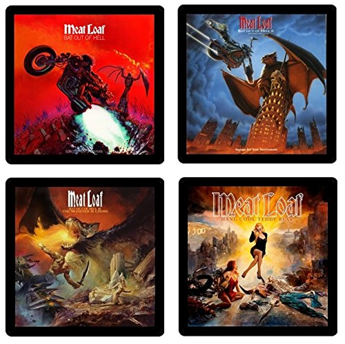 Meat Loaf Coaster Gift Collection - (4) Different Album Covers Reproduced Onto Absorbent, Soft, Drink Coasters (Rocky Picture Show Horror Merchandise)