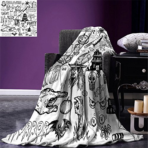 smallbeefly Vintage Halloween Throw Blanket Hand Drawn Halloween Doodle Trick or Treat Party Severed Hand Design Warm Microfiber All Season Blanket for Bed or Couch Black White]()