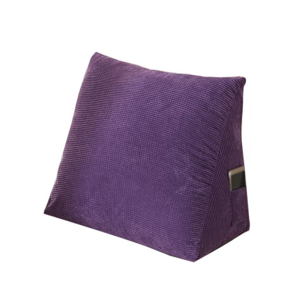 Bbhhyy Triangular Wedge Bedside Back Cushion, Large Sofa Pillow Detachable Cotton Comfortable Soft Cushion Hote Club Pillow Solid Color (Color : A, Size : 605030CM) by Bbhhyy
