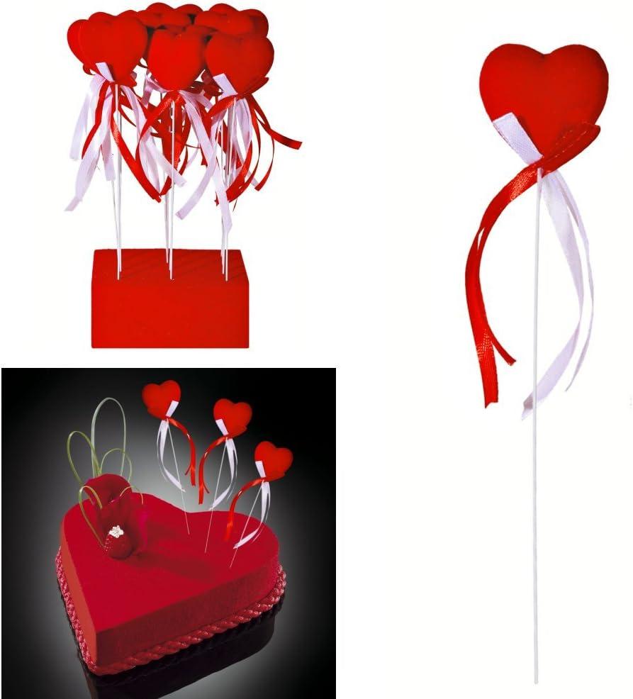 gâteau... Tige avec cœur velours et rubans décoration mariage saint valentin