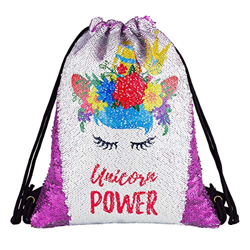 Unicorn Gift Sequin Mermaid Drawstring Backpack Gym Dance Bags for Girls Kids Magic Reversible Flip Sequin School Bag Shoulder Travel Bags Birthday Gift for Daughter Children Women (Smart Purple)